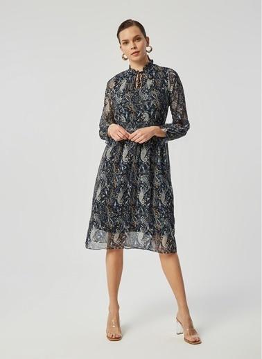 Monamoda Beli Lastikli Şal Desen Şifon Elbise Lacivert